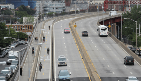 Rendering of dedicated bike lane from Brooklyn