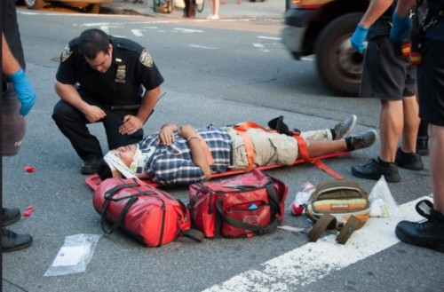Injured cyclist in Sunnyside in 2012 (allegedly riding against traffic)