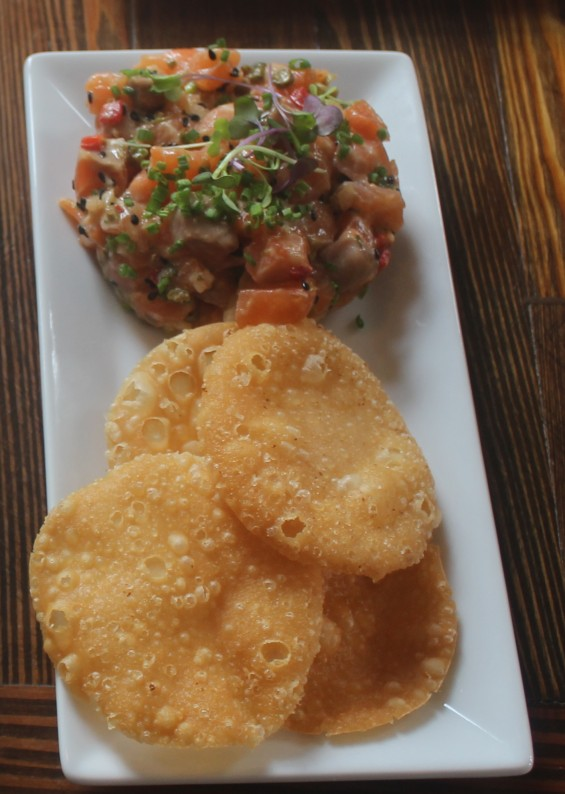Salmon Tartare with Crispy Wontons
