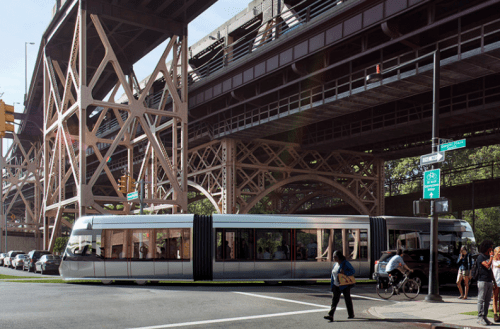 Rendering of the BQX at Queens Plaza